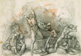Michelangelo-Buonarroti--Drawing---The-Resurrection