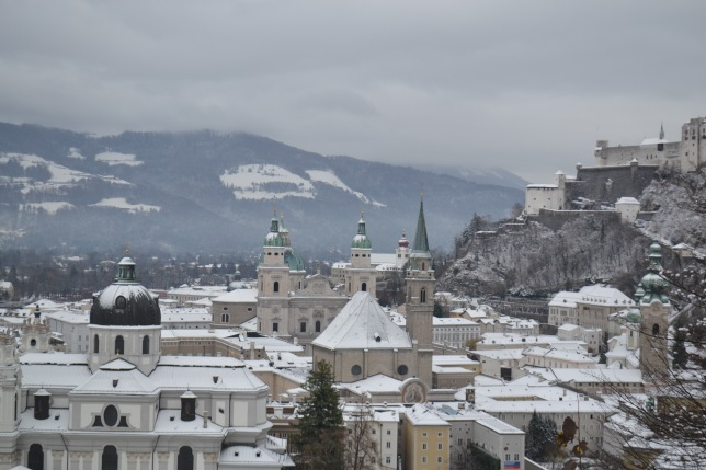 View over the Domplatz to the Castle (Festung Hohensalzburg)