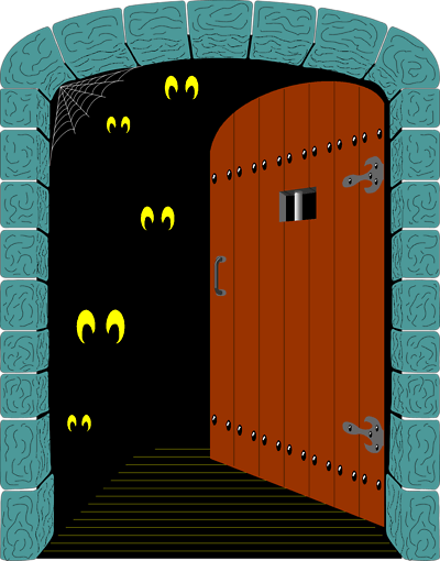 haunted house door