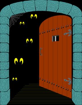 haunted house door